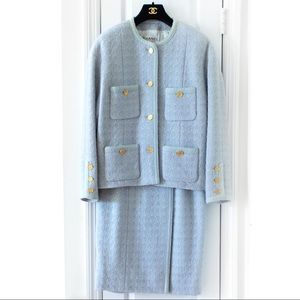 Rare Chanel Vintage 1980s Blue Gold Tweed Suit